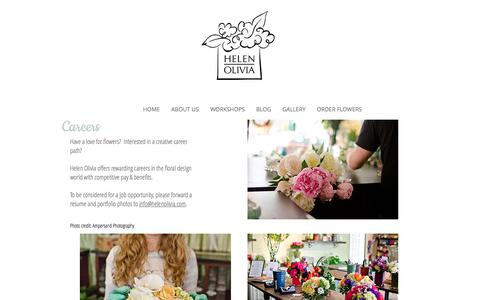 Screenshot of Jobs Page helenoliviaflowers.com - Helen Olivia | Florist Alexandria VA | Flower Delivery Washington DC | Careers - captured July 18, 2018