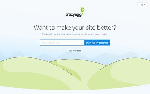 Screenshot of Home Page crazyegg.com - Crazy Egg - Visualize where your visitors click - captured July 17, 2016