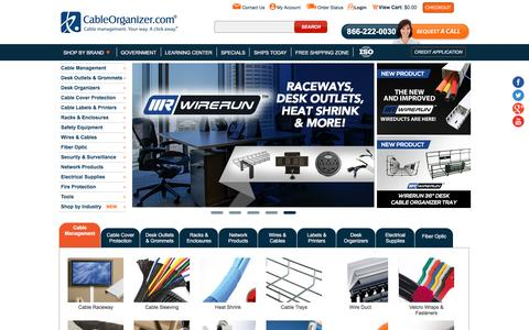 Screenshot of Home Page cableorganizer.com - CableOrganizer.com - The Best Prices on Wire Management Solutions - captured May 8, 2017