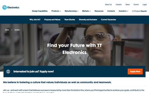 Screenshot of Jobs Page ttelectronics.com - TT Electronics - Careers   Electronics, Engineering, Operations, Admin and more... - captured Dec. 21, 2018