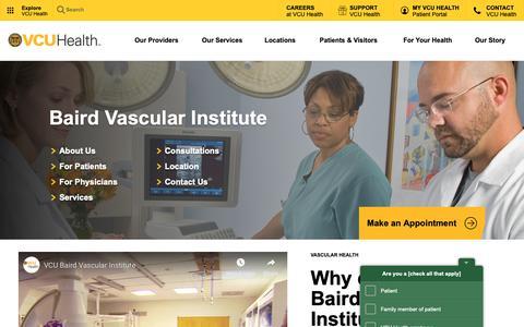 Screenshot of Services Page vcuhealth.org - Baird Vascular Institute | VCU Health - captured Dec. 13, 2018