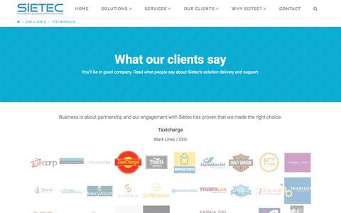 Screenshot of Testimonials Page sietec.co.nz - Testimonials - Sietec - Business Phone Systems - Cloud PBX Experts - captured Nov. 13, 2017