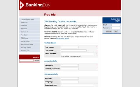 Screenshot of Trial Page bankingday.com - Free trial of Banking Day - The latest Banking and Finance News in Australia - captured Sept. 19, 2014