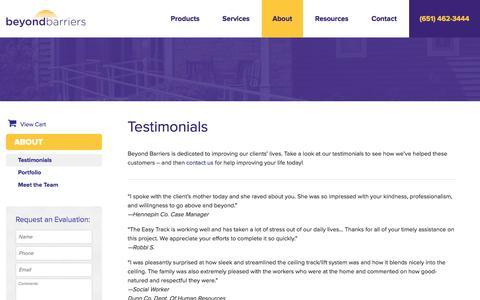 Screenshot of Testimonials Page beyondbarriers.com - Customer Testimonials | Beyond Barriers - captured July 29, 2016