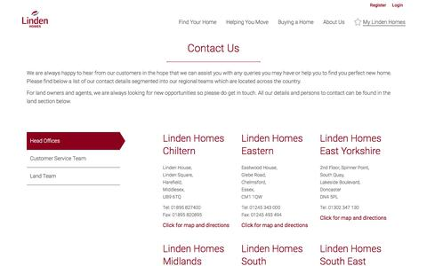 Screenshot of Contact Page lindenhomes.co.uk - Contact Us | Linden Homes - captured Feb. 1, 2020
