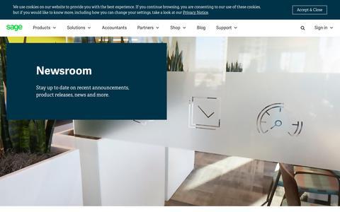 Screenshot of Press Page sage.com - Newsroom | Sage South Africa - captured July 17, 2019