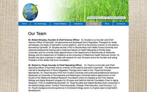 Screenshot of Team Page epimedx.com - Our Team - captured Nov. 2, 2014
