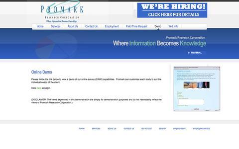 Screenshot of Demo Page promarkresearch.com - Online Demo - captured Nov. 14, 2016