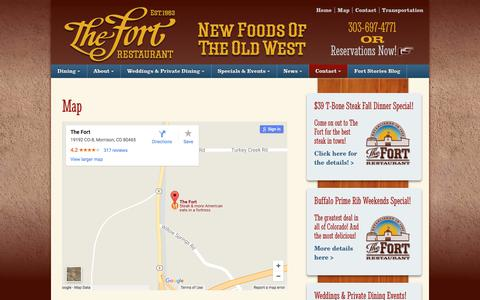 Screenshot of Maps & Directions Page thefort.com - Map/Directions - The Fort Restaurant - captured Oct. 14, 2017