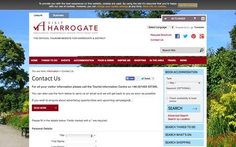 Screenshot of Contact Page visitharrogate.co.uk - Contact Us - Visit Harrogate - captured Oct. 26, 2014