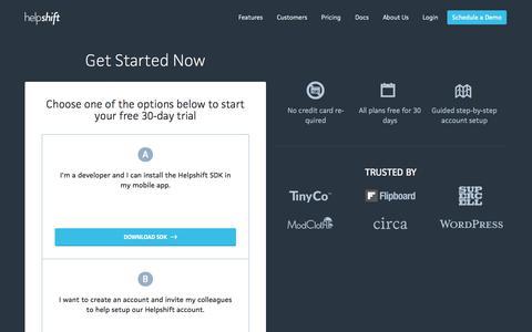 Screenshot of Signup Page helpshift.com - Signup | Helpshift - captured Oct. 22, 2014