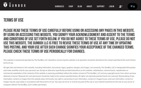 Screenshot of Terms Page thegunbox.com - Terms of Use – The Gunbox - captured Dec. 6, 2016