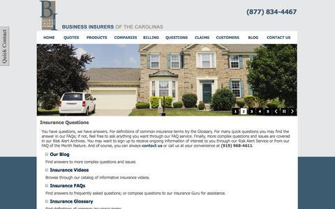 Screenshot of FAQ Page business-insurers.com - Business Insurers of the Carolinas - Chapel Hill, North Carolina 27514 - captured Oct. 5, 2014