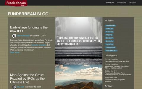 Screenshot of Blog funderbeam.com - Funderbeam - captured Oct. 29, 2014