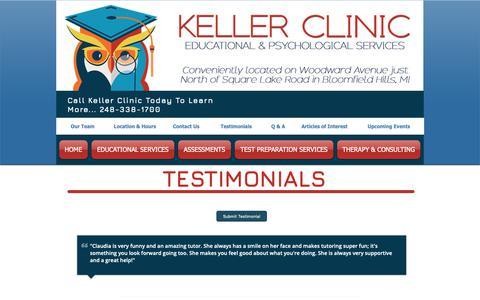 Screenshot of Testimonials Page kellerclinicpc.com - KellerClinicPC | TESTIMONIALS - captured Nov. 6, 2018