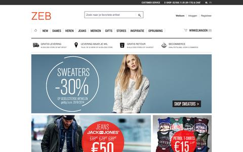 Screenshot of Home Page zeb.be - ZEB e-shop Home page - captured Sept. 23, 2014