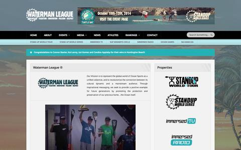 Screenshot of About Page watermanleague.com - Waterman League ® | Versatility - Tradition - Innovation - Passion - Respect - captured Sept. 30, 2014