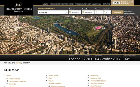Screenshot of Site Map Page shaftesburyhotels.com - London hotel accomodation, cheap London hotels, hotel reservation in london - captured Oct. 4, 2017