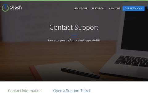 Screenshot of Support Page otechgroupllc.com - Contact Support - otechgroupllc.com - captured Aug. 13, 2016