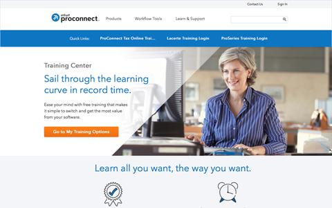 Screenshot of intuit.com - Intuit ProConnect Professional Tax Software Training Center - captured Aug. 31, 2017