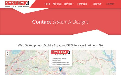 Screenshot of Contact Page systemxdesigns.com - Contact | System X Designs - Web and App Development and SEO Services - captured Sept. 21, 2018