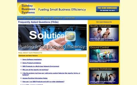 Screenshot of FAQ Page sundaybizsys.com - FAQs about Sunday Business Systems - captured Oct. 10, 2014