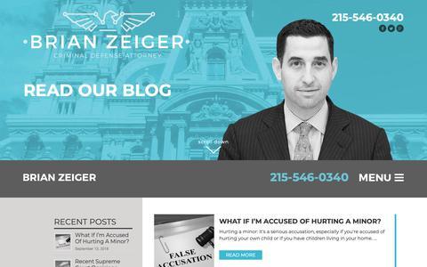 Screenshot of Blog brianzeiger.com - Philadelphia Criminal Defense Attorney Lawyer - captured Sept. 28, 2018