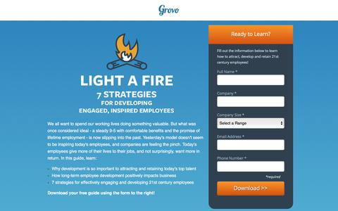Screenshot of Landing Page grovo.com - 7 Strategies for Developing Engaged, Inspired Employees - captured Oct. 20, 2016