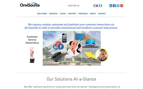 Screenshot of Home Page onvisource.com - Customer Experience and Workforce Optimization Software | OnviSource - captured July 22, 2017
