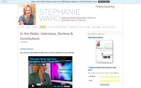 Screenshot of Press Page fireflycoaching.com - Stephanie Ward in the Media Interviews Reviews Marketing Coach for Entrepreneurs - captured Sept. 23, 2014