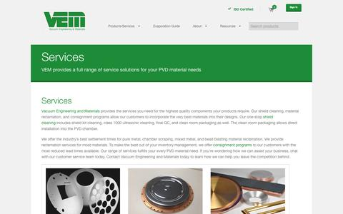 Screenshot of Services Page vem-co.com - Services | Vacuum Engineering and Materials Co - captured Oct. 7, 2014