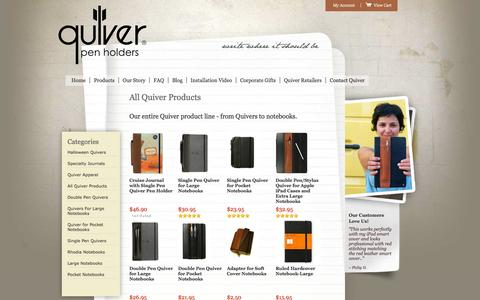 Screenshot of Products Page quiverglobal.com - All Products | Pen Holders | Stylus Holders | Notebooks - captured Oct. 29, 2014