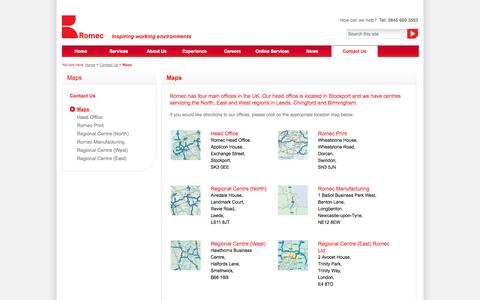 Screenshot of Maps & Directions Page romec.com - Maps | Contact Us | Romec - captured Oct. 9, 2014
