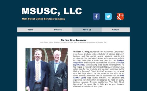 Screenshot of About Page msusc.com - Main Street United Services Company - captured July 6, 2018