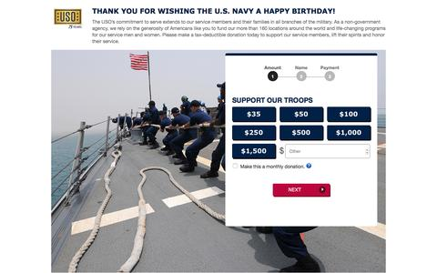 Screenshot of Landing Page uso.org - Donate | USO.org - captured Dec. 7, 2016