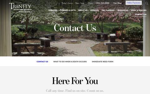 Screenshot of Contact Page trinitymemorialgardens.com - Contact Us   Trinity Memorial Gardens - captured Dec. 17, 2016