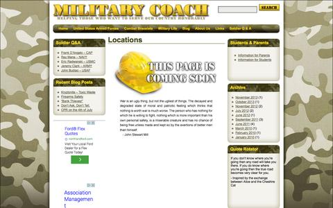Screenshot of Locations Page military-coach.com - Locations | military-coach.com - captured Oct. 27, 2014