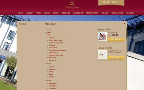 Screenshot of Site Map Page tullamorecourthotel.ie - Site Map Tullamore Court Hotel - captured Oct. 6, 2014