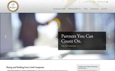 Screenshot of Home Page brassringcapital.com - Buying and Building Great [em]Little[/em] Companies. | Brass Ring Capital, Inc - captured Sept. 13, 2015
