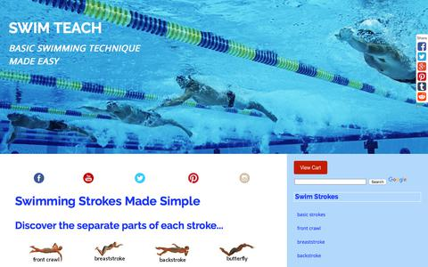 Screenshot of Home Page swim-teach.com - Swimming Strokes Broken Down Into Individual Parts - captured Oct. 24, 2017