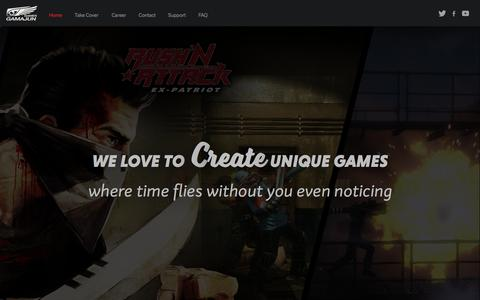 Screenshot of Home Page gamajun-games.com - Gamajun Games - game developer - captured May 14, 2017