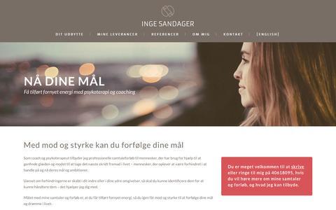 Screenshot of Home Page ingesandager.dk - Inge Sandager | Få tilført fornyet energi med psykoterapi og coaching - captured April 12, 2016
