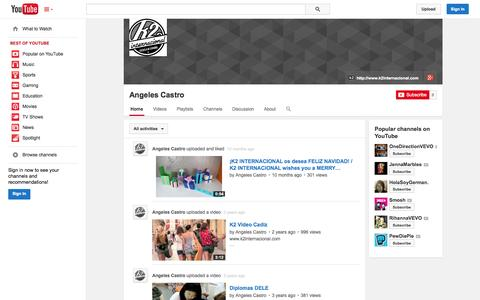 Screenshot of YouTube Page youtube.com - Angeles Castro  - YouTube - captured Oct. 25, 2014