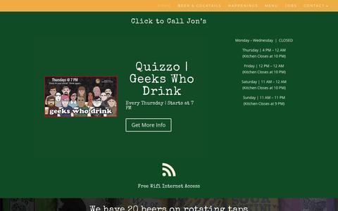 Screenshot of Home Page jonsbarandgrille.com - Jon's Bar & Grille | South Street Drink & Eat - captured Oct. 14, 2018