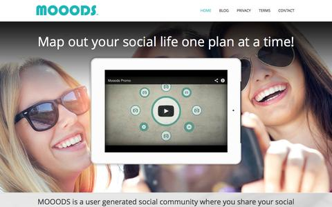 Screenshot of Home Page mooods.com - Map out your social life one plan at a time! - captured Sept. 30, 2014