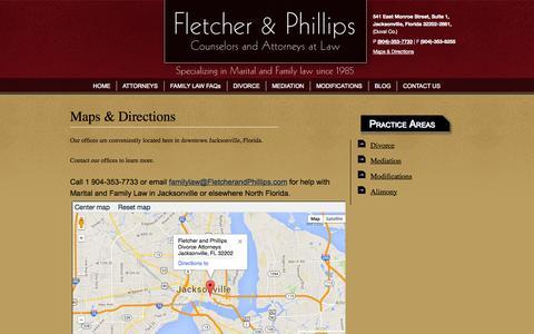 Screenshot of Maps & Directions Page fletcherandphillips.com - Jacksonville Family Law Firm Maps and Directions | Fletcher & Phillips Florida Divorce Lawyers - captured Oct. 6, 2014
