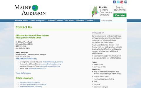 Screenshot of Contact Page maineaudubon.org - Contact Us - Maine AudubonMaine Audubon - captured Sept. 30, 2014