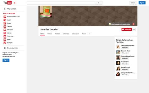 Screenshot of YouTube Page youtube.com - Jennifer Louden  - YouTube - captured Oct. 25, 2014