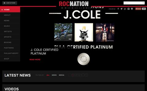 Screenshot of Home Page Privacy Page rocnation.com - ROCNATION Home - ROCNATION - captured Feb. 19, 2016