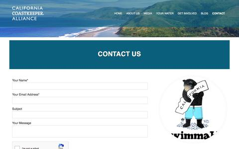 Screenshot of Contact Page cacoastkeeper.org - Contact the California Coastkeeper Alliance - captured Sept. 26, 2018